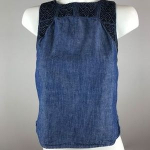 Madewell Indigo Embroidered Denim Chambray Tank XS